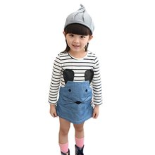 Striped Cute Patchwork Character Girl Dresses Children Clothing Kids Dress Denim Kids Clothes