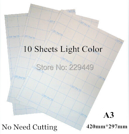 Freeshipping No Need Cutting A3*10sheets Light Color Laser Heat Transfer Paper Thermal Printing Paper With Laser Printer(China (Mainland))