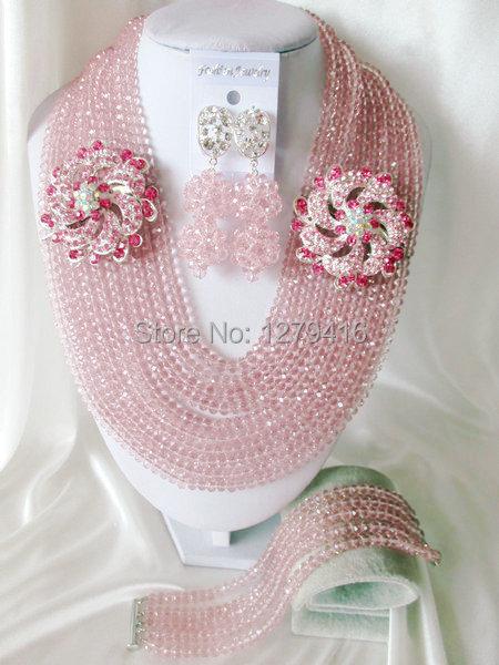 Fashion Nigerian African Wedding Beads Jewelry Set , Crystal Necklace Bracelet Earrings Set C0673<br><br>Aliexpress