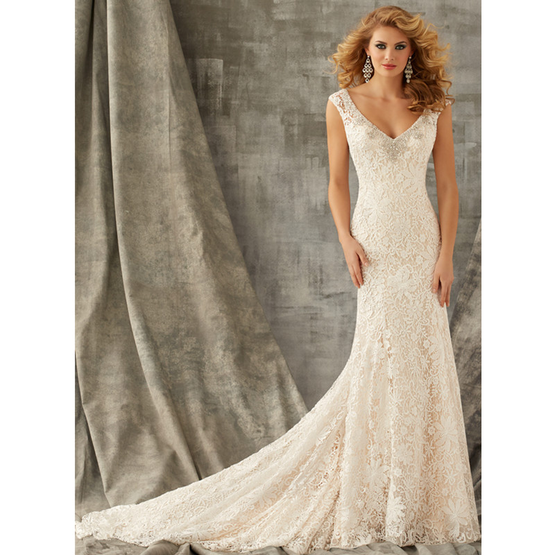 2015 sexy backless lace mermaid wedding dress with crystal for Lace v neck backless wedding dress