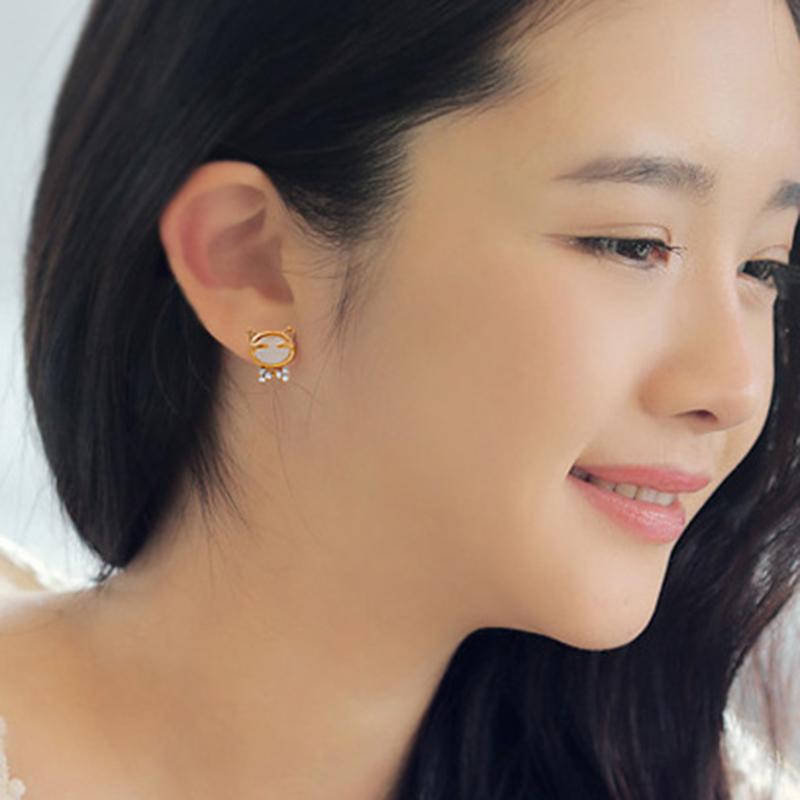 2016 New Arrival 3D Pearl Kitty Cat Cute Stud Earrings set for Women Girl Black Cat Pearl Stud Earrings EH096(China (Mainland))