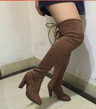 Sexy Dij Hoge Laarzen Vrouwen Over De Knie Laarzen Lace Up Vrouwen Laarzen Winter Suede Hoge Hakken Schoenen Vrouw Botas big Size 35-43(China)