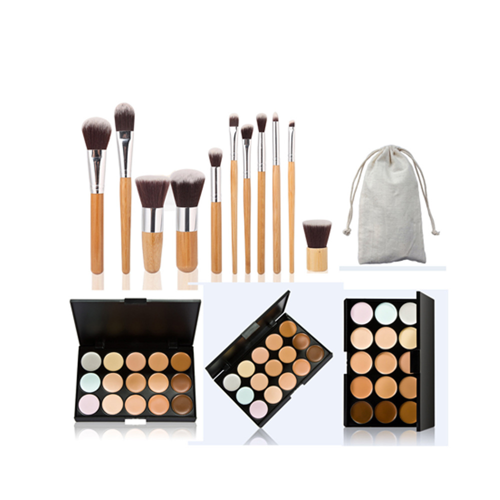 15 Color Professional Makeup Concealer Palette Set Make Up Cream Camouflage Contouring Kit With 11Pcs Bamboo Handle Makeup Brush(China (Mainland))