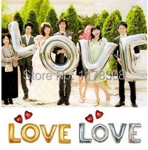 40 inch gold silver LOVE foil balloons Romantic 4pcs letter air love balloons wedding party decorations helium balloon supplies(China (Mainland))