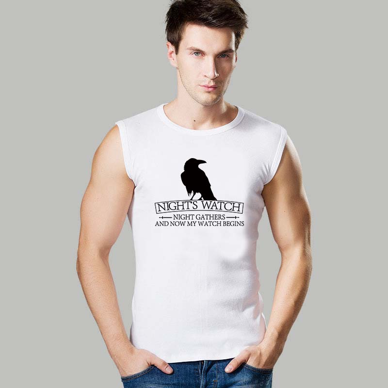 Night's Watch Crow Tank Tops Round Neck Men Sleeveless Shirts Nevermore Logo Printed Male Sports Vests(China (Mainland))