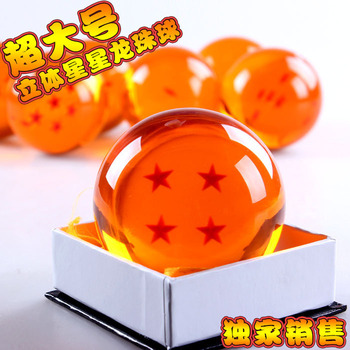 Japanese Anime Dragon Ball Z Crystal Ball Big 3/4 Star Dragon Ball 7cm Rubber Material New in Box Wholesale/Retail