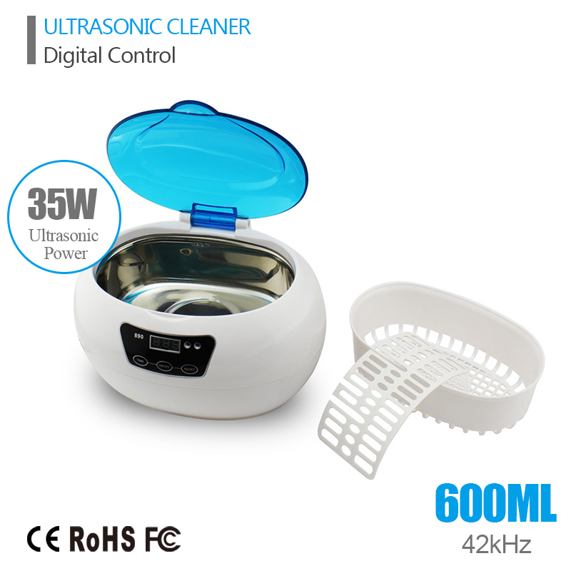 Digital Ultrasonic Cleaner Cleaning Machine Basket Jewelry Watches Dental 0.6L 35W 42kHz Ultrasound Cleaner Mini Ultrasonic Bath(China (Mainland))