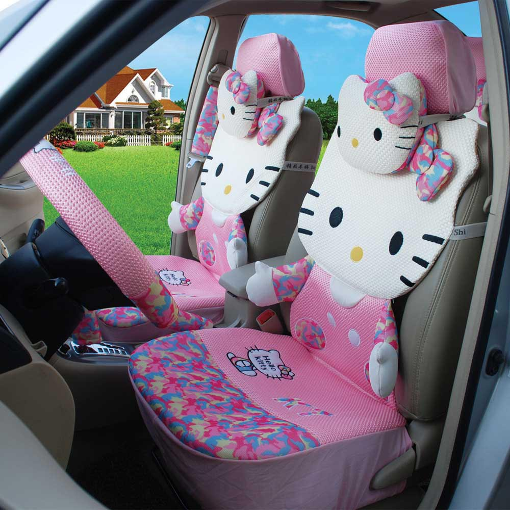 2015 hello kitty ice silk 18 pink summer car seat cushion car steering wheel cover universal car front and rear seat covers(China (Mainland))