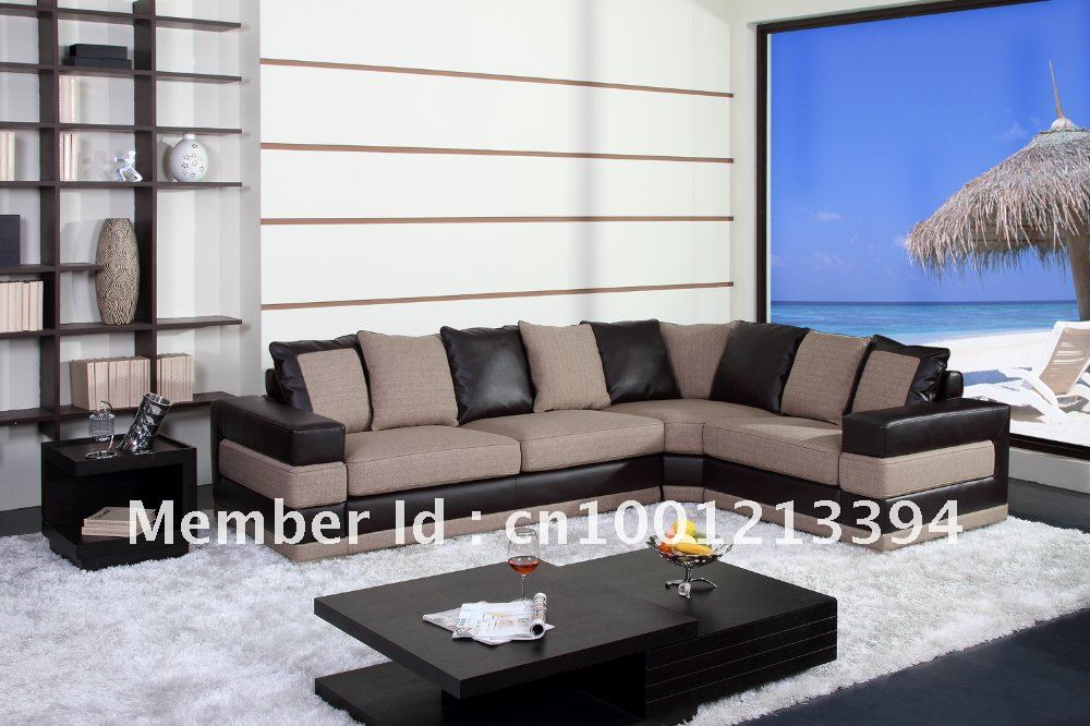 modern furniture living room fabric bond leather sofa sectional