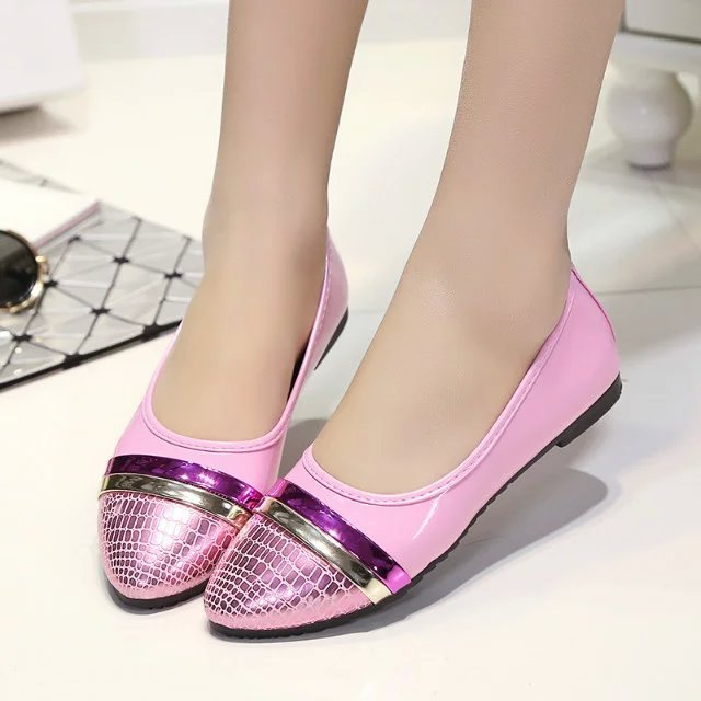 2016 New Spring Summer Women Slip On Patchwork Snake Leather Flats Black White Pink Ladies Shoes Women Flat Shoes Shallow Mouth(China (Mainland))
