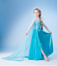 2016new girl dress Elsa Dress Custom Cosplay Summer Anna Girl Dresses Princess Elsa Costume for Children dress free shipping
