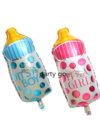 50pcs globos baby girl inflatable FOIL ballon pink/ wave point  milk bottle baby balloons baby balao for newborn party balloons<br><br>Aliexpress