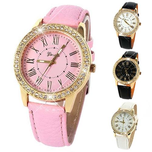 New hotWomens Golden Rhinestone Geneva Roman Numerals Dial Analog Quartz Wrist Watch 4JVH(China (Mainland))
