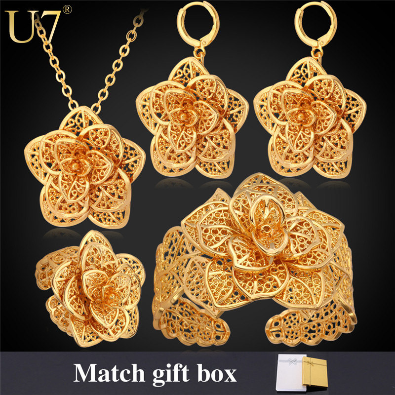 Big Flower Jewelry Set 2015 New Platinum/18K Real Gold Plated Trendy Exquisite Design Wedding Bridal Jewelry Set For Women S563(China (Mainland))