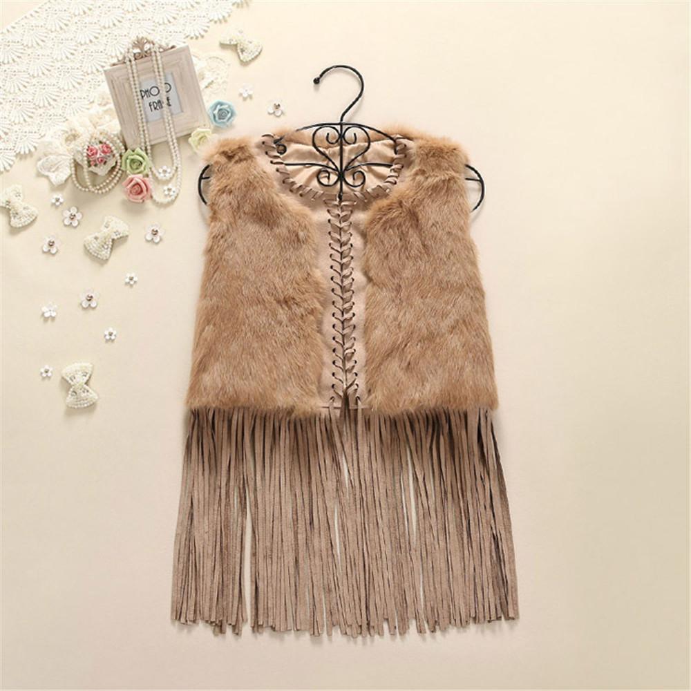 High Quality Hot Sale Retail Rabbit Fur Collar Trim Women Knitted Faux Rabbit Fur Vest Tassel Gilet/Waistcoat C2089