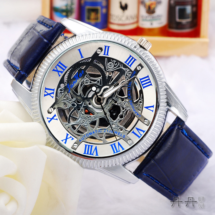 2015 Fashion Luxury relogio masculino Stainless Steel Skeleton Analog mechanical quartz watches men women casual watch