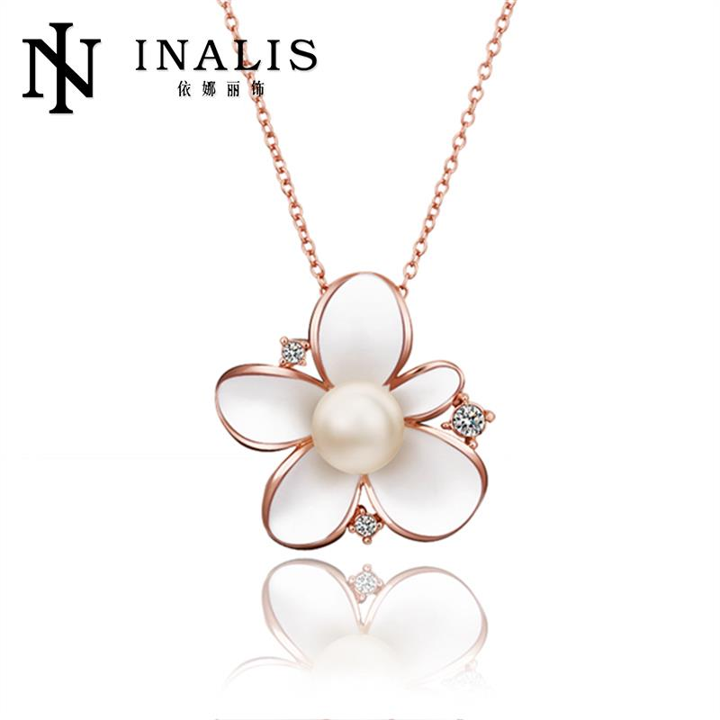 3 Colors 18K/Rose Gold/Platinum Plated Elegant Flower Pendant Necklaces Women Chain Antiallergic Necklace(China (Mainland))