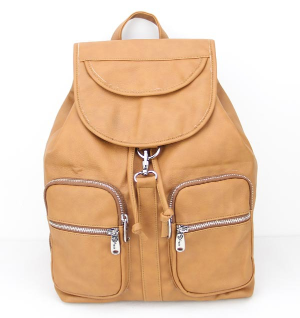 AH089(light brown) latest leisure leather travel backpack ,advanced PU & unisex,9 different colors,1pcs/opp bag,Free shipping(China (Mainland))