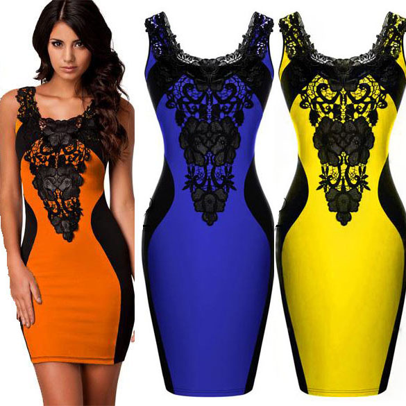 ORANGE BLUE YELLOW 2015 New Black Embroidery Bodycon OL Elegant Pencil Dress Women Contrast Color Casual Summer Dress(China (Mainland))