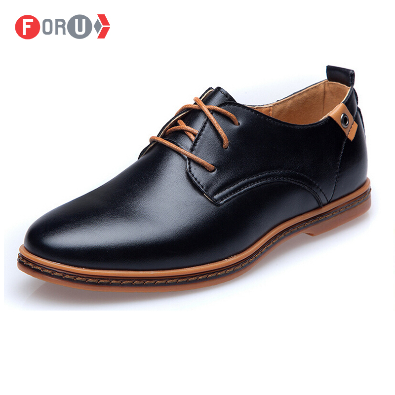 ForU New 2016 Men Shoes Leather Casual Lace Brown Black Cheap Dress Oxford leather shoes Plus size 45,46,47 - Nice Shoe Trading Co.,LTD store