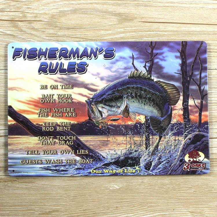 New 2015 about fishing ua 0041 metal tin signs vintage for Vintage fishing signs
