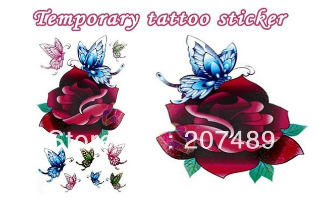 wholesale retail drop shipping butterfly roses Good quality Temporary tattoos Waterproof tattoo stickers body art Painting