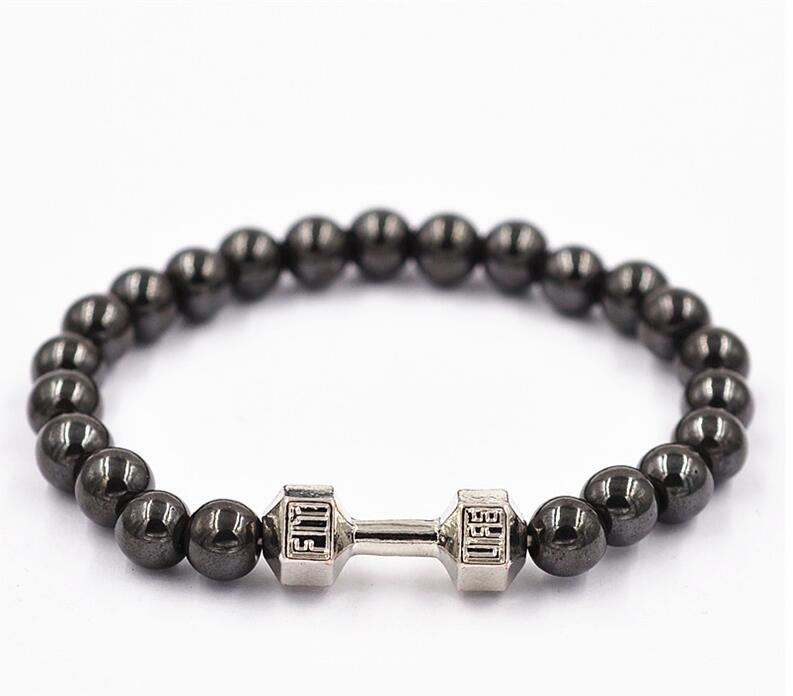 New Fashion Alloy Metal 14K Gold Barbell Jewelry Volcano Natural agate stone Beads Fitness Fit Life Prayer Dumbbell Bracelets(China (Mainland))