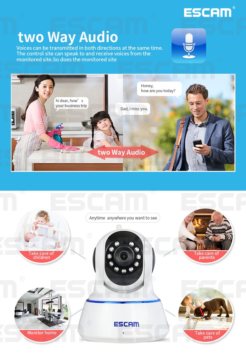 Escam QF002 Indoor Network WIFI IP Camera infrared 720P support P2P IR-Cut Smartphone Pan/Tilt PT Wireless Camera From Russian