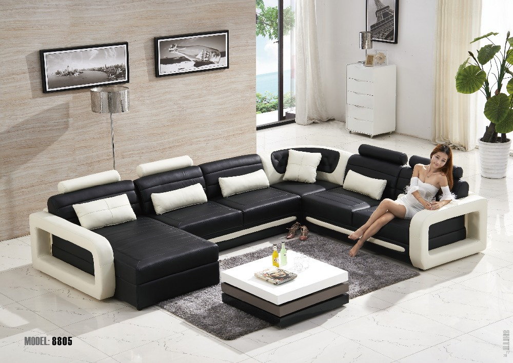 Buy modern living room leather sofa for Living room ideas l shaped sofa