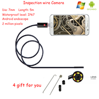 2016 Newest 5M 2IN1 Android and PC Lens 7mm Endoscope Borescope Inspection Wire Camera IP67 Waterproof level 2 million pixels