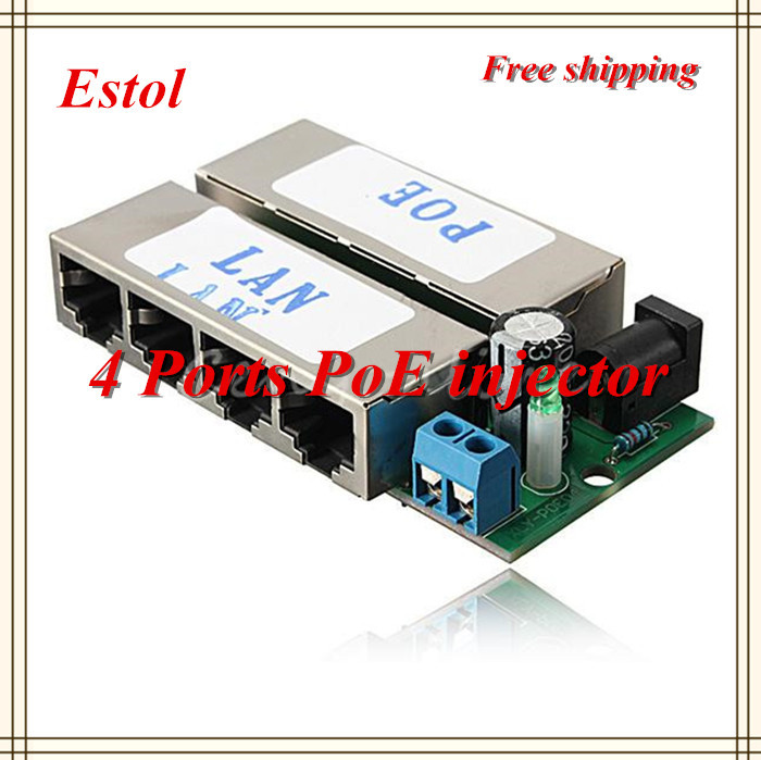 Free shipping 4 LAN Ports Passive adapter Pin 4 5/7 8 Power Over Ethernet PoE Injector module For DC 48V Plug IP Camera 2 pcs(China (Mainland))