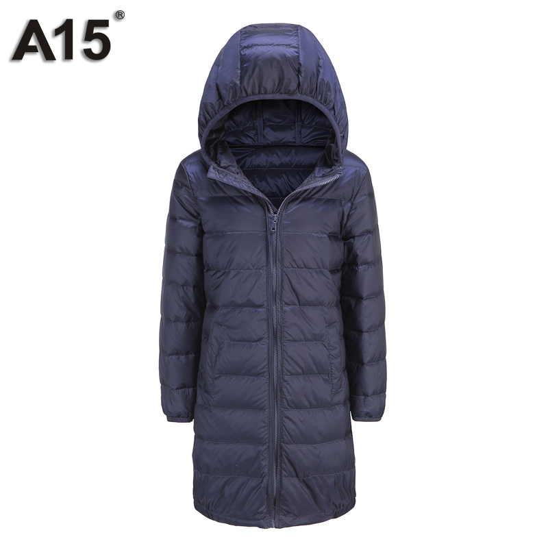 A15 Brand Boys Down Parkas Hooded Light Long Winter Down Jacket for Girl Kids Jackets Girls Warm Winter Coat Size 6 8 10 12 Year(China (Mainland))