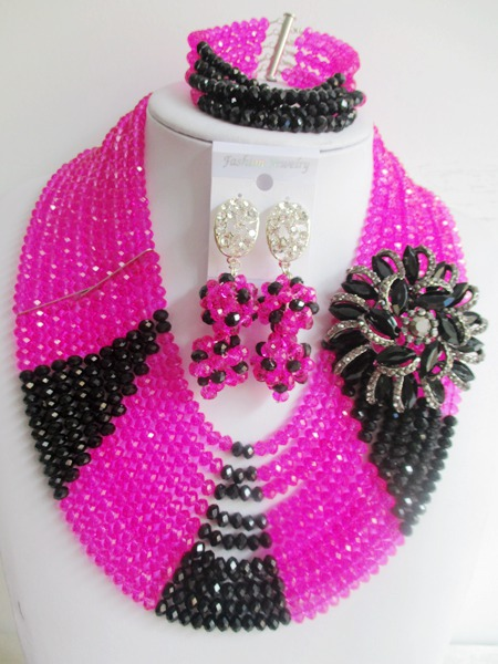 2015 luxury Fuchsia Pink african crystal beads necklace set nigerian wedding african beads jewelry set Free shipping P-831<br><br>Aliexpress