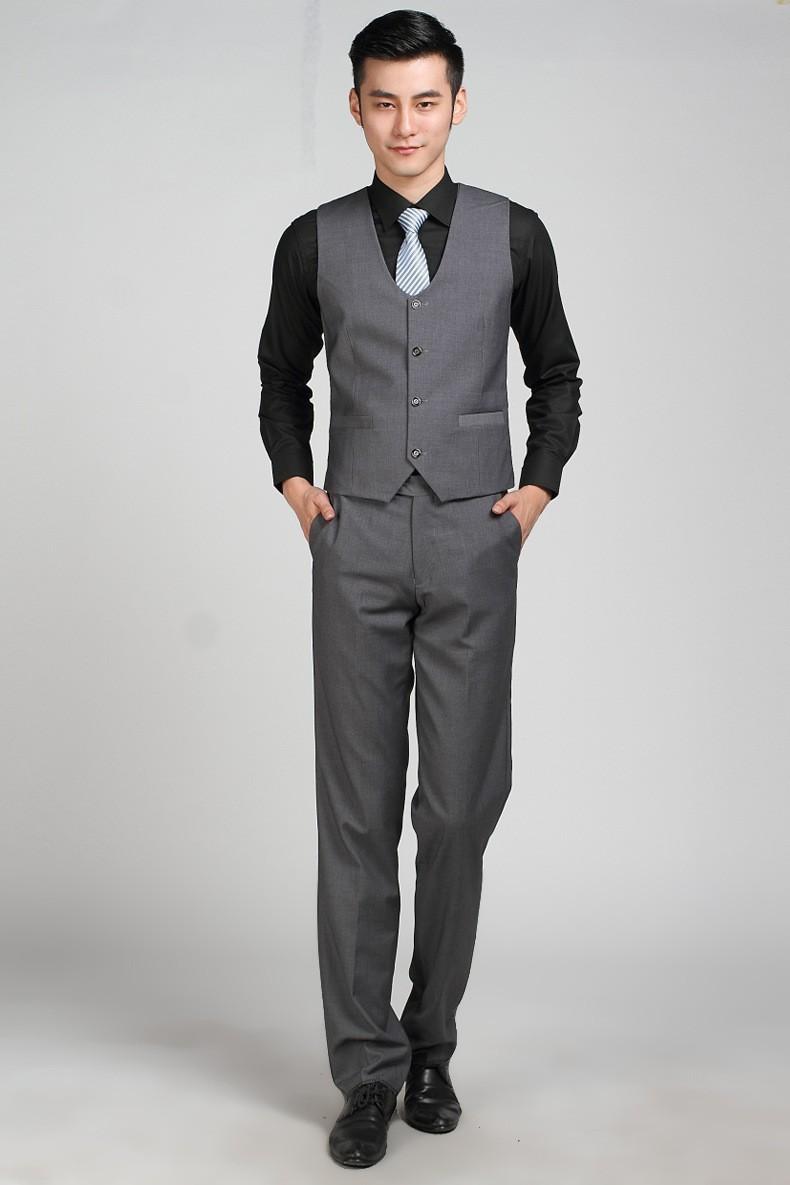 2017 Wholesale Formal Business Dark Grey Suit Vest For Men Simple