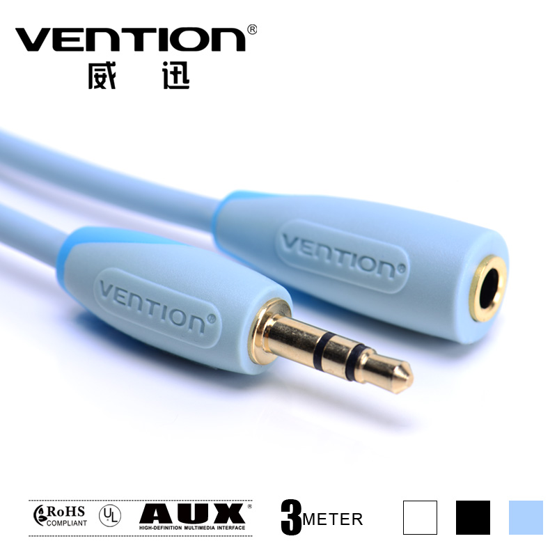 3M blue computer earphones extension cable 3.5mm audio cable 3.5 male to female aux cables stereo rca microphone cable vention(China (Mainland))