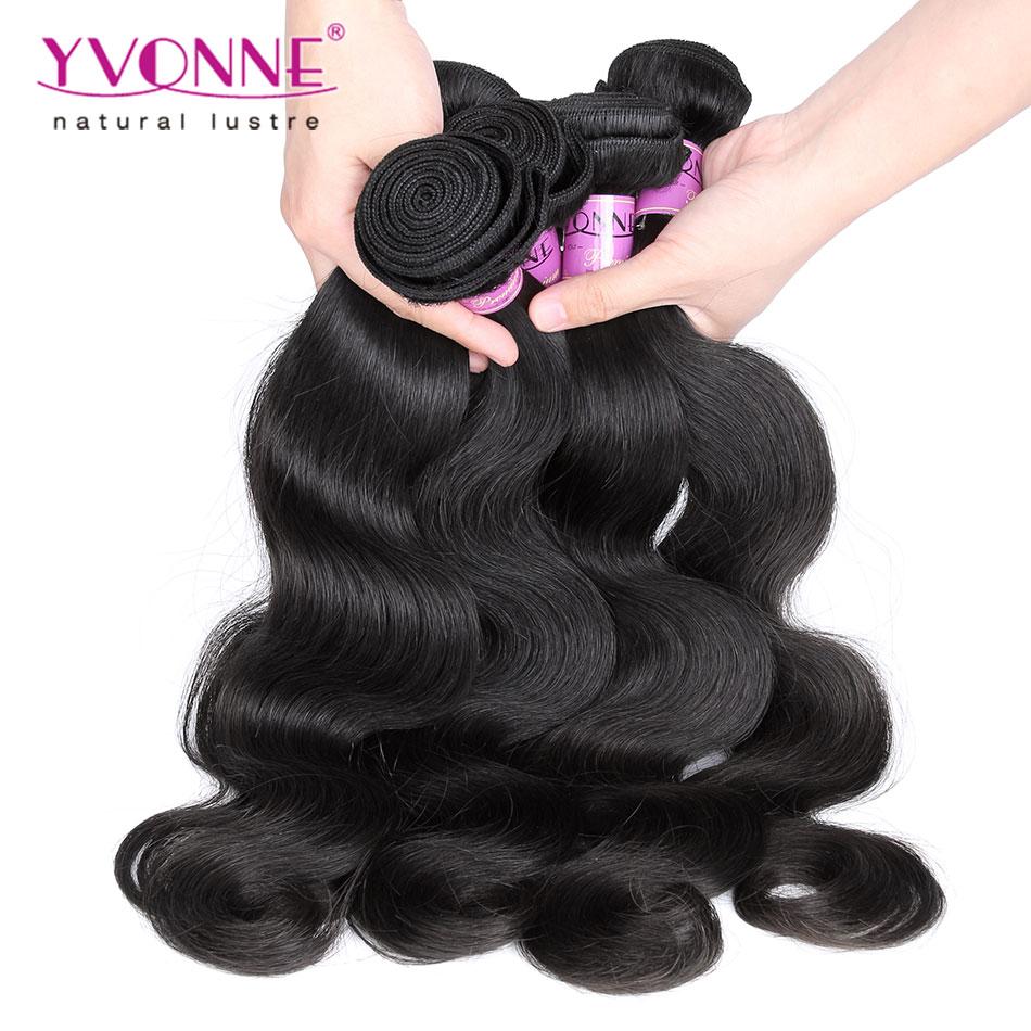 3Pcs/lot 7A Grade Бразильские женские волосы , 100% Remy Human Hair Weave,Hair Color 1B,12~28Inches Aliexpress Yvonne Hair
