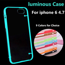 Ultra-thin 2 in 1 transparent luminous fluorescent soft TPU Case for iphone 6 4.7 light-emitting cover for iphone6 plus 5.5