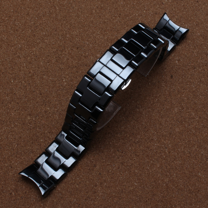 New Special Curved End Watchband Ceramic Straps High quality Ceramic bracelet band men watch accessories 22mm for 1400 1410<br><br>Aliexpress