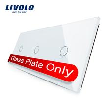 Livolo Lujo White Pearl Crystal Glass, 223mm * 80mm, estándar de LA UE, Panel de Cristal Triple, VL-C7-C1/C1/C1-11