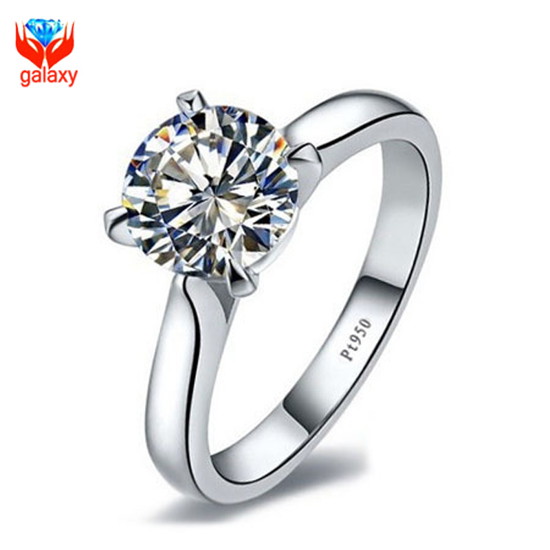 Crazy 90% OFF!!! Fashion Platinum Plated PT950 Wedding Rings For Women Luxury 3 Carat CZ Diamond Engagement Ring Jewelry Y185655(China (Mainland))