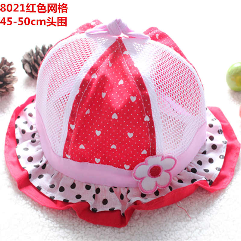 Cotton Summer Hat Cap Infant Flower Lace Caps Hat Baby Child Sun Polka Bucket Hats(China (Mainland))