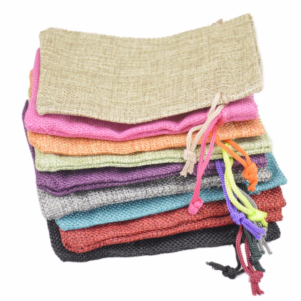 Jute Bag Drawstring burlap bags Gift Candy Beads Bags for Handmade Soap Storage/ Wedding Decor 100pcs 9.5*13cm 15colors Can Pick(China (Mainland))
