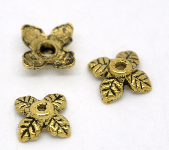"Zinc metal alloy Beads Caps Four Leaf Clover Gold Tone Leaf Pattern 8.0mm( 3/8"") x 8.0mm( 3/8""), 70 PCs 2015 new(China (Mainland))"