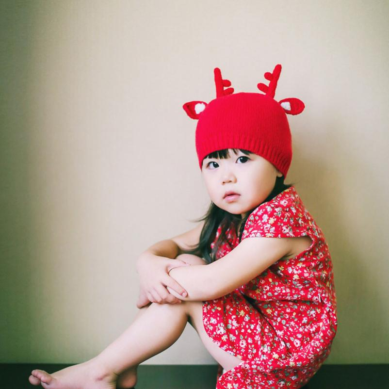 Cute Winter Baby Wool Christmas Deer Hat Hooded Scarf Earflap Knit Cap Toddler 2016 Crochet Fashion Knitting Warm Baby Hat Caps(China (Mainland))