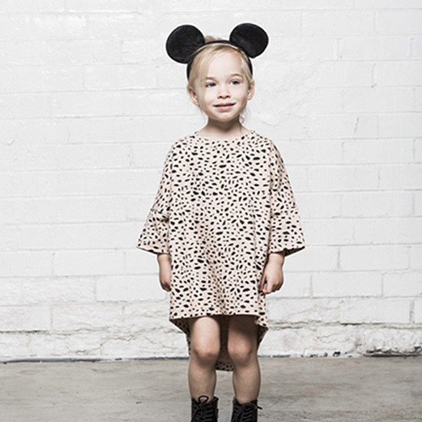 reatail 2015 Brand New autumn Girl Dress Leopard Print soft cotton Dress Girl Casual Dress Girls mini Dress Kids Clothes A208(China (Mainland))