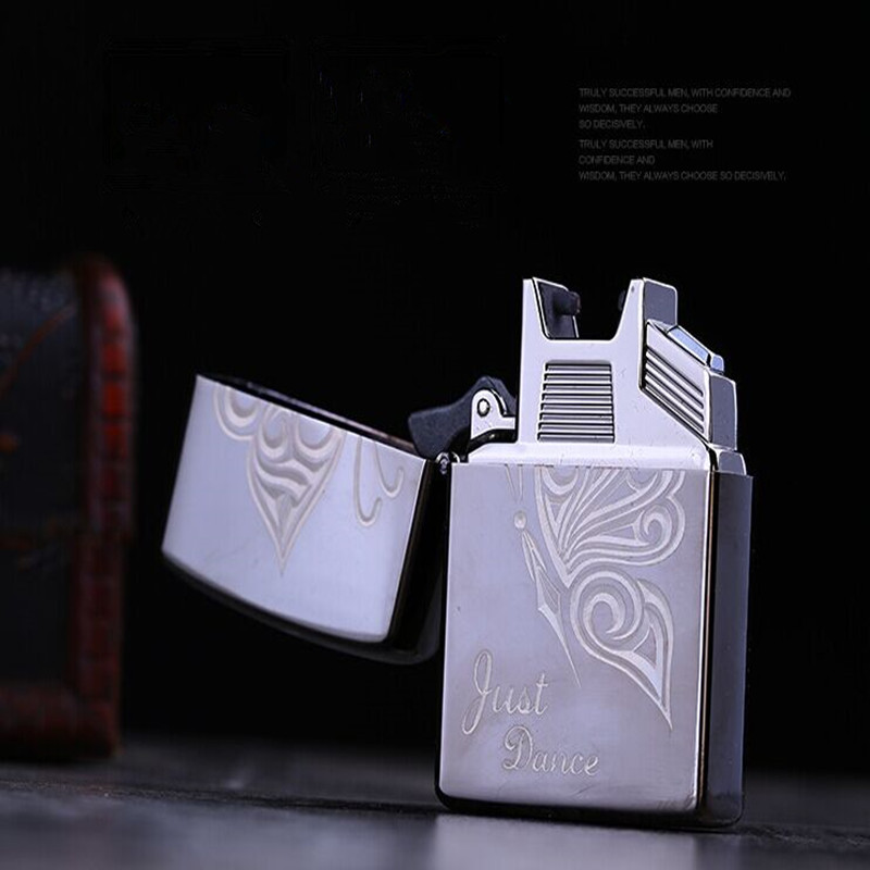 Smoking Gadget USB Lighters For Cigarettes USB Rechargeable Electrical Arc Windproof Flameless 2 IN 1 Oil Clipper Lighter