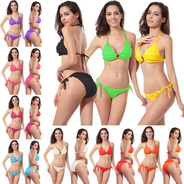 10 color Biquinis 2015 Bikinis Set Womens Swimwears Fashion Push Up Swimsuit For Women New Bikini Flower Beach Bathing Suits(China (Mainland))