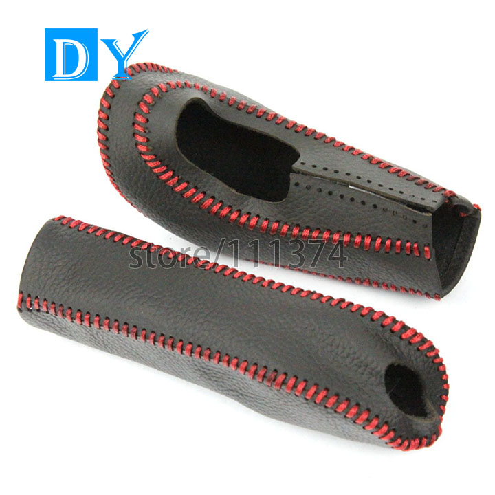 Genuine leather Red line Car Gear Shift knob cover & Handbrake Cover KIt for Ford Ford Focus 2005-2011 2013 Automatic