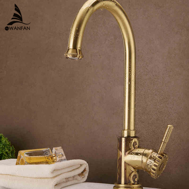 Luxury Antique Kitchen Faucet Single Handle Flower Carved