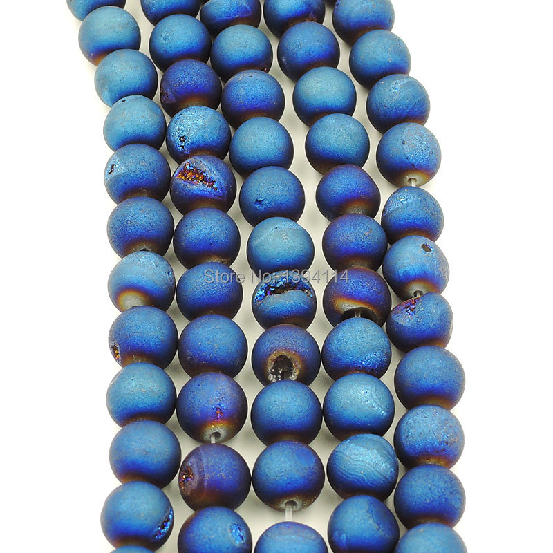 Titanium Coated Blue Agate Druzy Loose Beads For Making Jewelry Strand About 16 inches(China (Mainland))